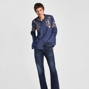 NWT Zara Size S Embroidered Denim Shirt